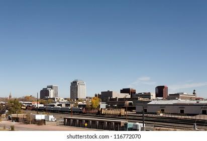 A view of the skyline of Colorado Springs, Colorado.