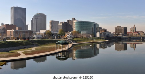 A view of the skyline of Dayton, Ohio.