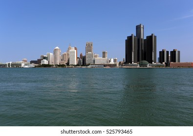 A view of the skyline of Detroit, Michigan.