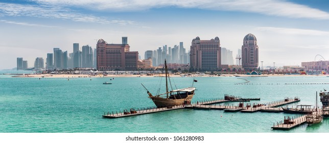 View to the skyline of Doha, Qatar, from the Katara Cultural Center