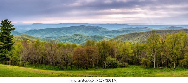 View from Skyline Drive, in Shenandoah National Park, of the nearby Blue Ridge forest, the Shenandoah Valley, and the distant Appalachian Highlands.