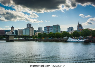 View of the skyline from the Eastbank Esplanade, in Portland, Oregon.