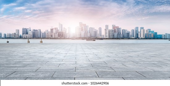 View of the skyline of Hangzhou urban architectural landscape fr