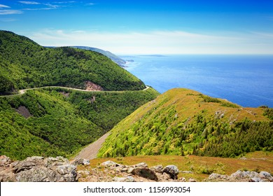A view from the Skyline Hike Trail in Cape Breton National Park, Nova Scotia, Canada