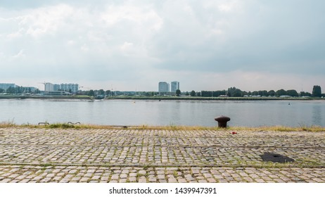A view of the skyline and landmarks of Antwerp. Harbour and port near the river Schelde