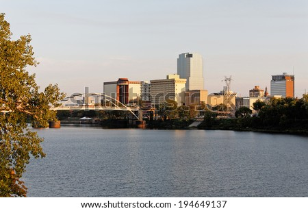 A view of the skyline of Little Rock, Arkansas at sunset.
