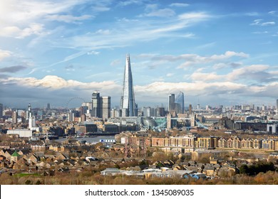 View to the skyline of London, UK, during a sunny day featuring various famous tourist attractions
