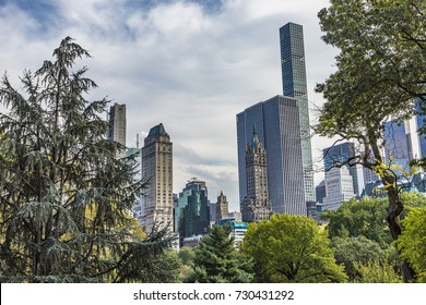 view to skyline of New York from central park