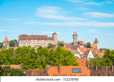 View of the skyline of Nuremberg with the castle