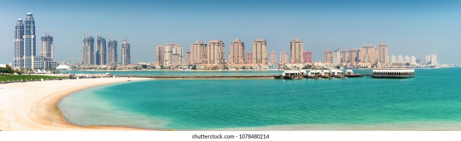 View to the skyline of the Pearl in Doha, Qatar