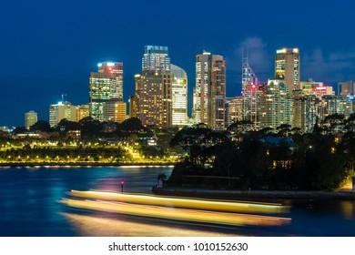 View of Skyline of Sydney CBD at night