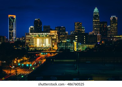 View of the skyline of Uptown at night, in Charlotte, North Carolina.
