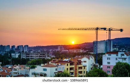 View of skyline of Varna, Bulgaria at sunset