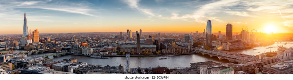 View to the skylne of London along the Thames river during sunset time, United Kingdom - Shutterstock ID 1245036784