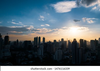 view of skyscraper in Bangkok, Thailand in sunset.