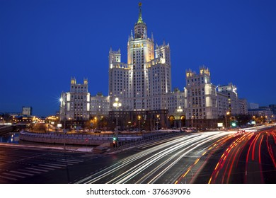 View of the skyscraper on Kotelnicheskaya Embankment and Traffic Trails at Dusk in center of Moscow city, Russia