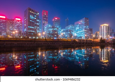 View of skyscrapers in Beijing CBD at night