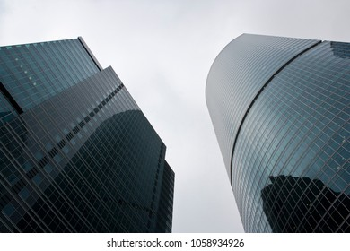 View of the skyscrapers from below