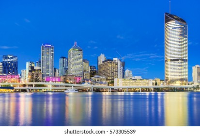View of skyscrapers in Brisbane at twilight