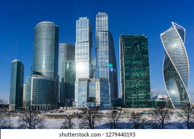 View of the skyscrapers of the business center Moscow City on a sunny frosty day