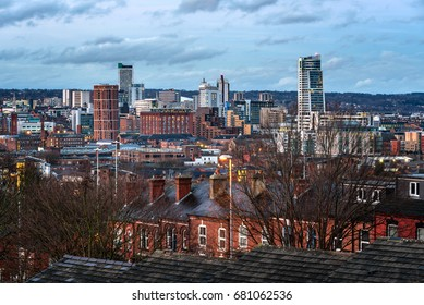 View of Skyscrapers, Houses and Leeds city Under a Cloudy Sky