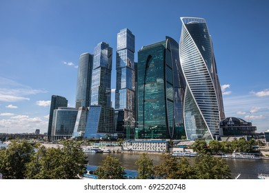 VIEW OF THE SKYSCRAPERS IN MOSCOW INTERNATIONAL BUSINESS CENTER (MOSCOW CITY), RUSSIA - AUGUST 7, 2017: a commercial district in central Moscow