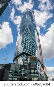 VIEW OF THE SKYSCRAPERS IN MOSCOW INTERNATIONAL BUSINESS CENTER (MOSCOW CITY), RUSSIA - AUGUST 8, 2017: The Federation Tower is the tallest building in Europe, at the height of 373 meters.