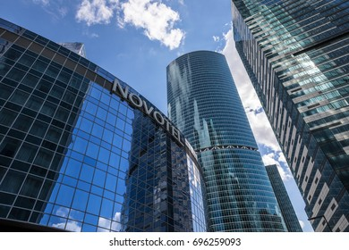 VIEW OF THE SKYSCRAPERS IN MOSCOW INTERNATIONAL BUSINESS CENTER (MOSCOW CITY), RUSSIA - AUGUST 8, 2017: a commercial district in central Moscow