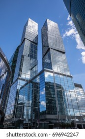 VIEW OF THE SKYSCRAPERS IN MOSCOW INTERNATIONAL BUSINESS CENTER (MOSCOW CITY), RUSSIA - AUGUST 8, 2017: the twin scyscrapers named The City of Capitals, symbolising Moscow and St. Petersburg