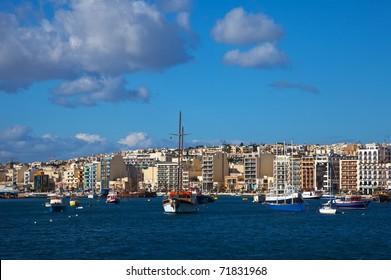 View of Sliema and boats in Sliema Creek. Malta