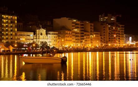 View of Sliema seaside in  night. Malta