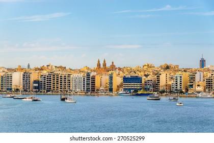View of Sliema town in Malta