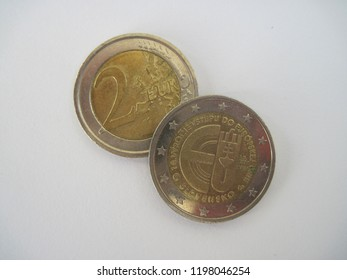 View of Slovak two euro coin. Slovakia 2 Euro coin - 10 Years of Slovakian Membership in EU. Great for numismatic collection.