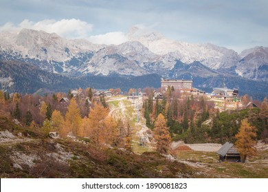 A view of the Slovenian Alps from Vogel Ski Hill in Ukanc during the Autumn