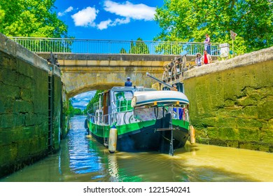 View of a sluice on Canal du Midi in Carcassone, France