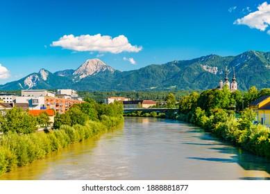 View of a small Alpine city of Villach, Austria