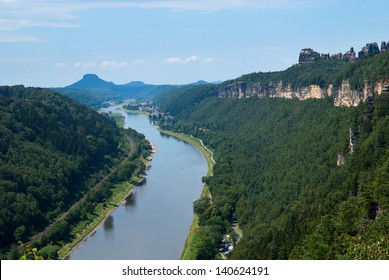 View from the Small Bastei towards Bad Schandau and Elbe valley