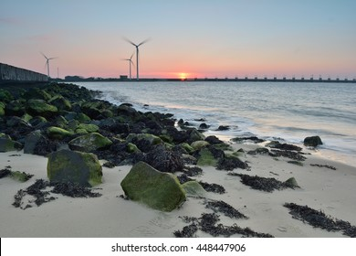 View from small beach at the Delta works specifically called Oosterscheldekering Island: North-Beveland Province: Zeeland Country: Netherlands