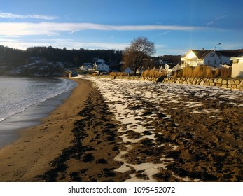 The view of the small beach in Larvik, Norway.