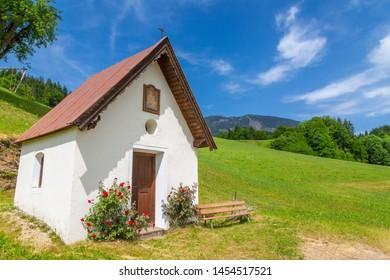 View of small chapel near St Johann, Austrian Alps, Tyrol, Austria, Europe 1-6-2019