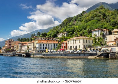 View of the small city at the shore of Como lake, Lenno, Italy. Summertime.