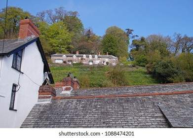 View to a small cottage in the upper part of Clovelly in the northern part of Devon, England