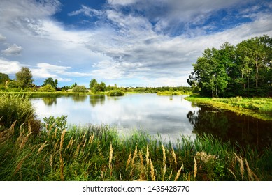 A view of the small country lake with a village and green forest in the background, Latvia