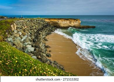 View of a small cove beach in Santa Cruz, California.