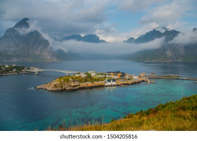 View of Sakrisøy, a small fishing village in Moskenes Municipality on Lofoten islands in Nordland county, Norway