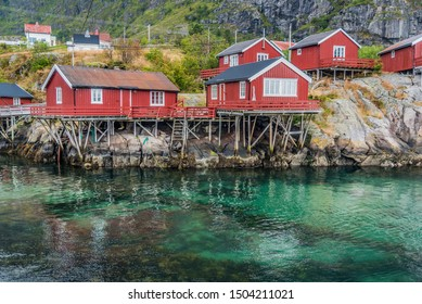 View of Å,  a small fishing village with the shortest name in Moskenes Municipality on Lofoten islands in Nordland county, Norway