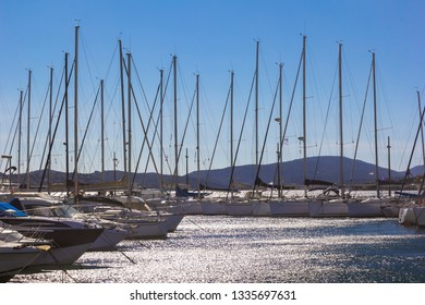 View to a small harbour with sailing ships. Seen in France, in Sainte Maxime, French Riviera.