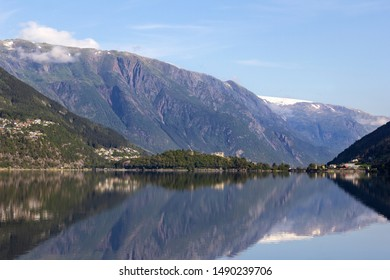 View to the small but important town Odda. The municipality is located in southeastern Hordaland county, Norway. Odda municipality is very mountainous and located in valleys.
