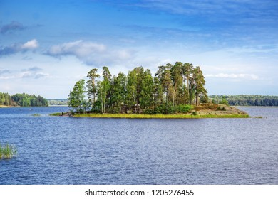 View of Small Island in Monrepos Park in city Vyborg, Vyborg Bay, Leningrad Region, Russia. August 2018. Beautiful landscape in park.