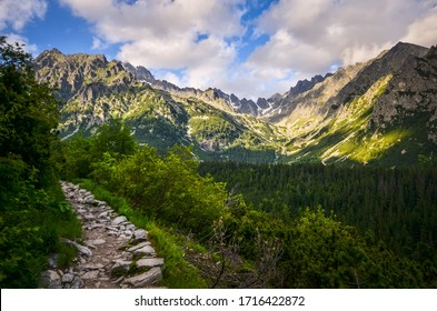 View of a small mountain valley in the Tatra mountains in Slovakia